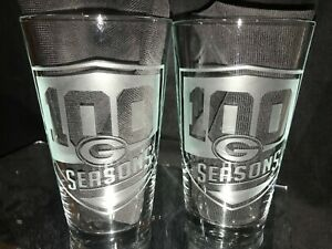 GREEN BAY PACKERS 100 SEASONS ANNIVERSARY ETCHED LOGO PINT 16 oz GLASSES (2) NEW