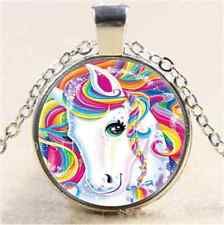 Rainbow Unicorn Photo Cabochon Glass Tibet Silver Chain Pendant Necklace