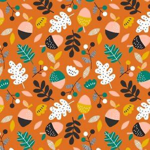 Fat Quarter Dashwood Studios Acorn Wood Leaves Trees Autumnal 100% Cotton Fabric