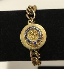 Vtg Yale New Haven Hospital 40 Years Service Charm Bracelet Sapphire 10k 12k GF