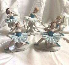 Vintage Japan Turquoise, White and Gold Lace Ballerina Figurines- Set of 5