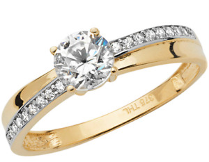 9ct Gold Ring 0.5ct Solitaire Engagement size O  UK Hallmarked Yellow Gold