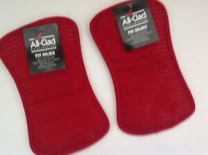 New Set of Two All Clad Silicone Heavy Cotton Washable Potholders - Red Chili