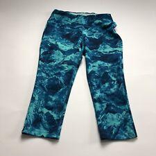 New Balance US Size Medium Blue Geometric Running Fitness Athletic Capri Pants
