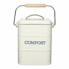 Nostalgia Antique Cream Compost Caddy - Metal Kitchen Compost Bin