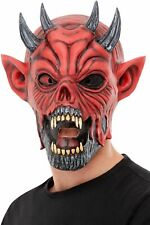 Maschera Diavolo Rosso Latex Evil Demon Lord Accessorio per Costume Nuovo