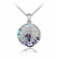 18K Gold GP SWAROVSKI Element Crystal Round Moon Cubic Pendant Necklace Violet