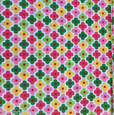 Floral Daisy Bright Pink 100% Cotton Designer Fabric for Girls Dress Quilting FQ