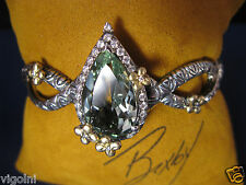 BRACELET BARBARA BIXBY MINT QUARTZ DIAMOND CUFF 6.5 PEARSHAPE BANGLE FLOWER GIFT