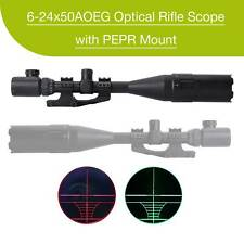 Mil-dot Hunting Rifle Scope Red Green Laser W/ Pepr Mount Sunshade 6-24X50 Ao