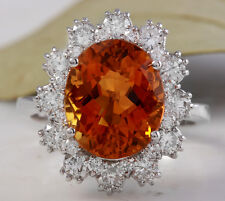 5.90Ct Natural Madeira Citrine and Diamond 14K Solid White Gold Ring