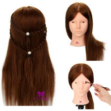 "20"" Training Head 100% Real Hair Hairdressing Make up Mannequin Doll with Clamp"