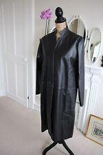 BNWT NEW Jane Norris Black Long Leather Coat Jacket Large 14 RRP600 -50% UK M L