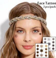 Gold Silver Star Temporary Face Tattoo Glitter Cheek Decor Snow Flakes Makeup UK