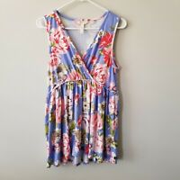 Matilda Jane Adventure Begins As A Rose Blue Floral Tunic Tank Women's Medium M