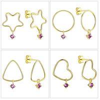 Sterling Silver Swarovski Crystals 18K Gold Plated Heart Dangling Stud Earrings