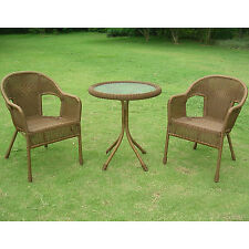 Light Brown Bistro Resin Wicker Round Table Patio Set Outdoor Home Furniture