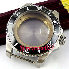 43mm black ceramic bezel sapphire glass watch case fit ETA 2824 2836 movement