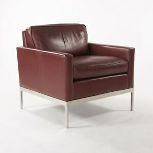 Nicos Zographos Red Leather 70 Club Chair Armchair with Polished Stainless Legs