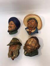 Vintage Bosson Head ChalkWare – Lot (4) Sombrero, Blue Turban, Pipe, England