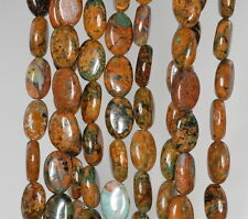 """12X8MM AFRICAN GREEN OPAL GEMSTONE BROWN GREEN OVAL LOOSE BEADS 15.5"""""""