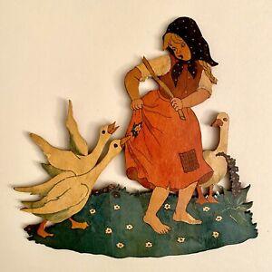 🚬 Laubsägearbeit Widmung 1960 Graupner Graubele Mädchen 21x22cm Figur Deko ALT
