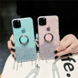 Girl Sparkle Bling Ring holder Stand Clear Phone Case & Crystal Chain for Xiaomi
