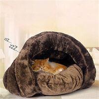 Dog Cat House Puppy Cave Pet Sleeping Super Soft Bed Mat Pad Lgloo Nest Brown
