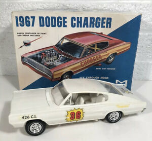 Vintage MPC 1967 Dodge Charger Model Kit Built W Box #767 1:25 W Extra Parts Car