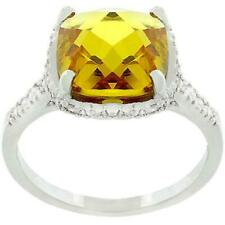 3.26 CW CZ Rose & Checkerboard Cut Canary Halo Cocktail Engagement Ring Size 6