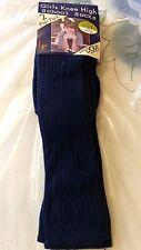 Garçons Filles Bleu Marine 2 Pack Genou School Chaussettes entièrement neuf sous emballage Taille 4-6 Euro 36 - 40