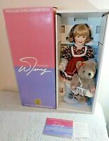 William Tung Collection Laurie Porcelain Doll With Jointed Bear With Box & Stand