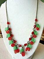 "Vintage 18"" Glass Floral Bead Necklace"