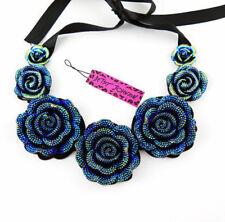 💋 Betsey Johnson Gorgeous Blue Rose Chunky Bib Ribbon Ball Prom 🇺🇸 US SELLER