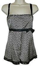 Flavio Castellani Black White Silk Top Camisole size 44 Italian US 10 Med NWT