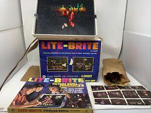 OLD VINTAGE ORIGINAL HASBRO LITE BRITE Light Bright Box Pegs & Sheets 5455 WORKS