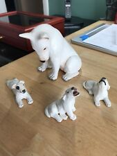 Handmade Sculpture Bull Terrier White Hand Painted Statues Mom & Babies