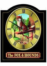 FOX & HOUNDS Pub Sign WALL CLOCK for your Home Bar, Man Cave or Pub Shed