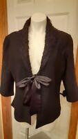 Coldwater Creek L large Ladies Black 100% Wool Jacket blazer Faux Fur Collar