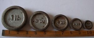 5 x Vintage IMPERIAL CAST IRON WEIGHING SCALE WEIGHTS. Used.