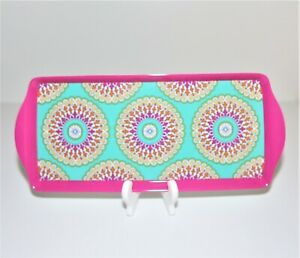 Cynthia Rowley Melamine Pink and Teal Serving Trays Sandwich, Snacks Set of 2