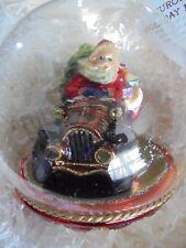 Komozja Santa In Antique Car Glass Ornament Nib