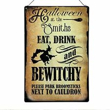 Halloween Metal Sign Personalised - family name witch Sign - Party sign - Large