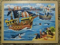 RARE Vintage Toys R Us Pirates Wooden jigsaw puzzle kids