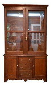 Antique American Shaker Style Step Back Cupboard China Cabinet