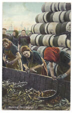 GREAT YARMOUTH Gutting Herring, Old Postcard by Knight Bros, Postally Used 1905