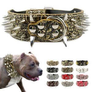 Sharp Spiked Studded Dog PU Leather Collar for Medium Large Dogs Pitbull Mastiff