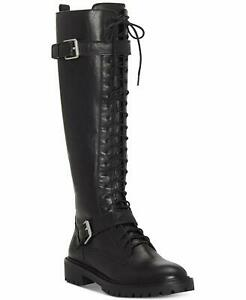 Lucky Brand Womens Inniko Leather Almond Toe Knee High Cold, Black, Size 7.0