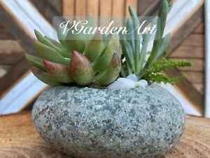 Natural Cobblestone Planter Succulent Planter Jewelry Holder River Rock Planter