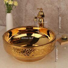 Bathroom Round Golden Paint Art Basin Wash Ceramic Basin Mixer Tap+Drain Set
